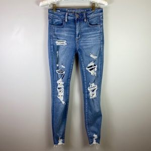 American Eagle Hi Rise Distressed Jegging Jeans